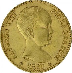 20 Pesetas Alfonso XIII 5,81g d'or fin
