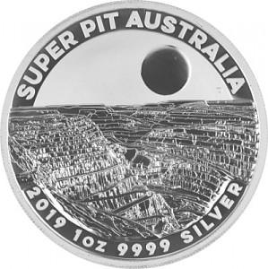 Australie Super Pit 1oz d'argent fin - 2019