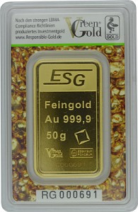 Lingot 50g d'or fin - Auropelli Responsible-Gold