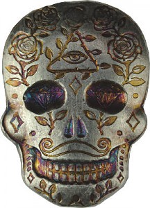 """Skull - Day of the Dead - All Seeing Eye"" lingot coulé 3D 2oz d'argent fin"