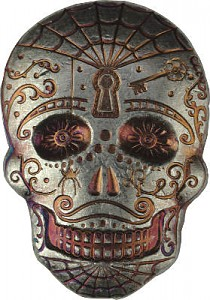 """Skull - Day of the Dead - Spiderweb"" lingot coulé 3D 2oz d'argent fin"