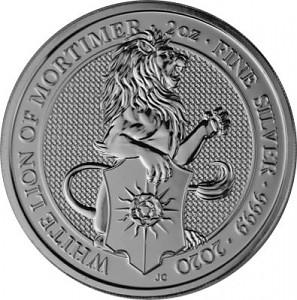 Queens Beasts White Lion 2oz d'argent fin - 2020