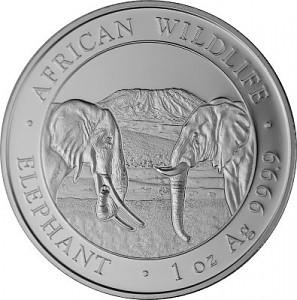 Somalia Elephant, African Wildlife 1oz d'argent fin - 2020