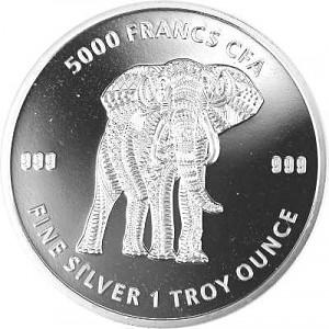 Tchad Mandala Éléphant 1oz d'argent fin - 2019