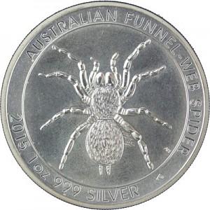 Australie Funnel Web Spider (Entonnoir web spider) 1oz d'argent fin 2015 deuxième choix