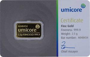 Lingot 2,5g d'or fin - Umicore