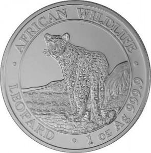Somalia Léopard African Wildlife 1oz d'argent fin - 2018
