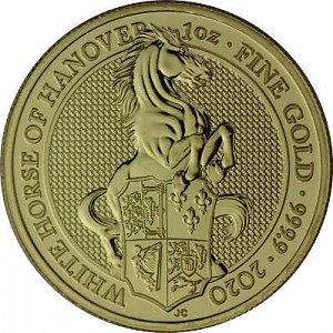 Queens Beasts White Horse 1oz d'or fin - 2020
