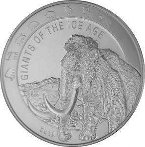 Géants de la période glaciere - Mammouth laineux - 1oz d'argent fin - 2019
