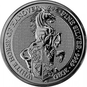 Queens Beasts White Horse 2oz d'argent fin - 2020