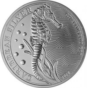 Barbados Hippocampe 1oz d'argent fin - 2020