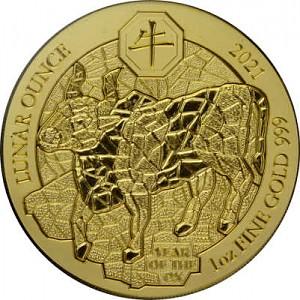 Rwanda Lunar Boeuf  1oz d'or - 2021