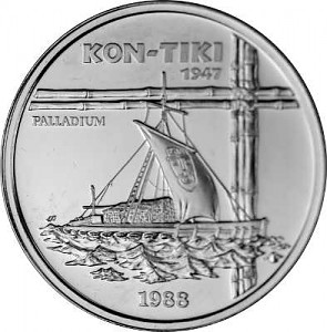 50 Tala Samoa Voilier 'Kon-Tiki' 1oz de palladium 1988