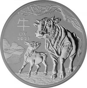 Lunar III Boeuf 1oz d'argent fin - 2021