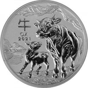 Lunar III Boeuf 2oz d'argent fin - 2021