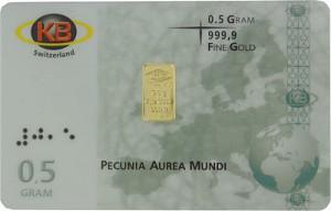 Lingot 0,5g d'or fin - KB-Gold Switzerland