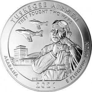America the Beautiful - Alabama Tuskegee Airmen 5oz d'argent fin - 2021