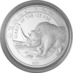 Géants de la période glaciere - Rhinocéros laineux - 1oz d'argent fin - 2021