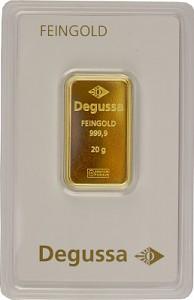 Lingot 20g d'or fin - différents fabricants