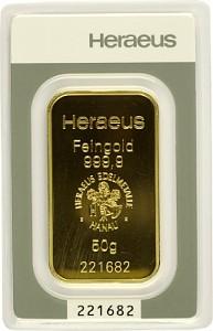 Lingot 50g d'or fin - Heraeus