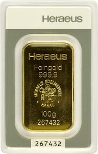 Lingot 100g d'or fin - Heraeus