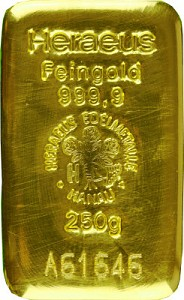 Lingot 250g d'or fin - Heraeus