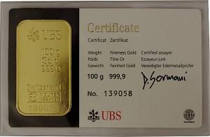 Lingot 100g d'or fin - différents fabricants