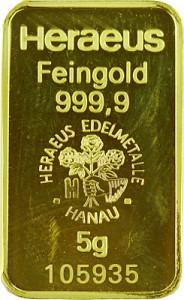 Lingot 5g d'or fin - différents fabricants