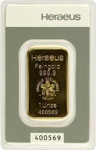 Lingot 1oz d'or fin - Heraeus