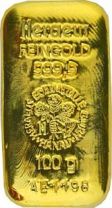 Lingot 100g d'or fin - Heraeus, lingot coulé