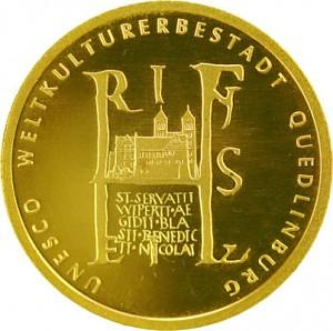 100 Euro allemand 1/2oz d'or fin - 2003 Quedlinburg