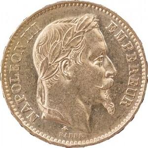 20 Francs français Napoléon III 5,81g d'or fin