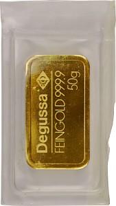 Lingot 50g d'or fin - différents fabricants