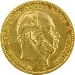 10 Mark allemand Wilhelm I de Prusse 3,58g d'or fin