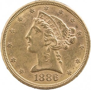 5 Dollar Half Eagle Liberty Head 7,52g d'or fin