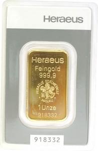 Lingot 1oz d'or fin - Heraeus Kinebar