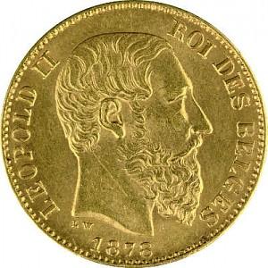 20 Francs belges Leopold II 5,81g d'or fin