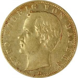 10 Mark allemand Otto Roi de la Bavière 3,58g d'or fin
