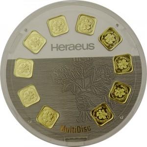Lingot 10x 1g d'or fin - Heraeus Multidisc