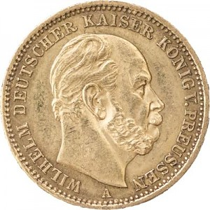 20 Mark allemand Wilhelm I de Prusse 7,16g d'or fin